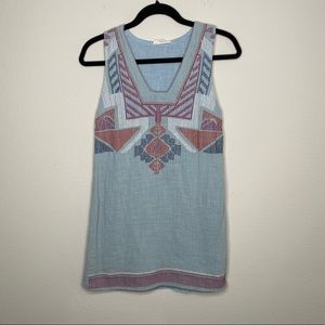 Entro Light Blue Colorful Embroidered Shift Dress
